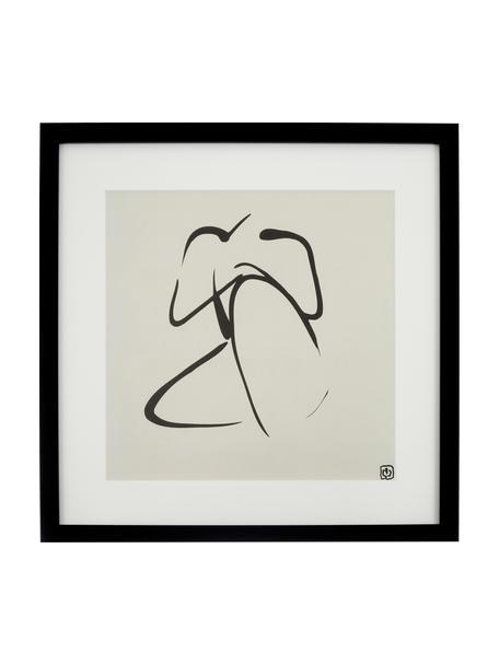 Stampa digitale incorniciata Akt Lady III, Immagine: stampa digitale, Cornice: materiale sintetico, Immagine: nero, beige Cornice: nero, L 40 x A 40 cm