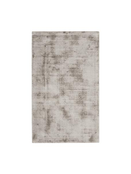 Alfombra artesanal de viscosa Jane, Parte superior: 100%viscosa, Reverso: 100%algodón, Gris pardo, An 90 x L 150 cm (Tamaño XS)
