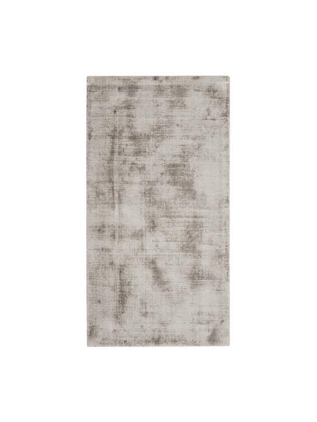 Handgeweven viscose vloerkleed Jane in taupe, Bovenzijde: 100% viscose, Onderzijde: 100% katoen, Taupe, B 80 x L 150 cm (maat XS)