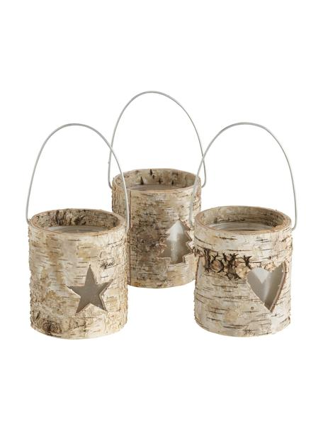 Set de portavelas Ilion, 3uds., Tapizado: madera, Portavelas: vidrio, Asas: metal, Marrón, beige, Ø 11 x Al 13 cm