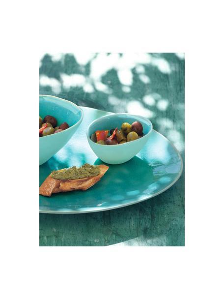 Piatto piano ovale in porcellana à la Plage 2 pz, Porcellana, smalto craquele, Turchese, Larg. 27 x Alt. 2 cm