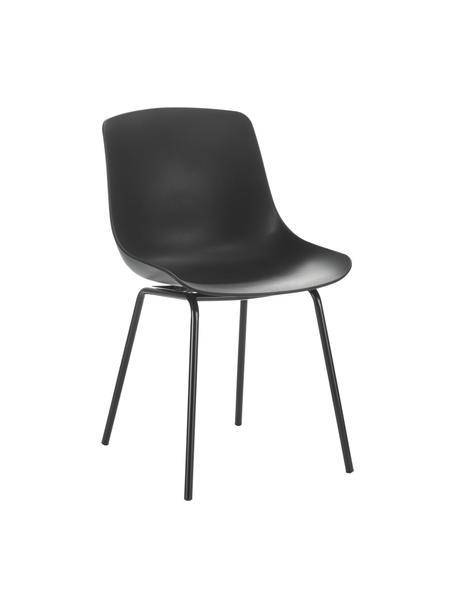 Kunststoffen stoelen Dave met metalen poten, 2 stuks, Zitvlak: kunststof, Poten: gepoedercoat metaal, Zwart, 46 x 53 cm