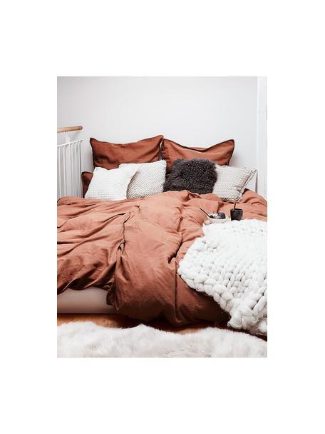 Pościel z lnu z efektem sprania Nature, Terakota, 135 x 200 cm + 1 poduszka 80 x 80 cm