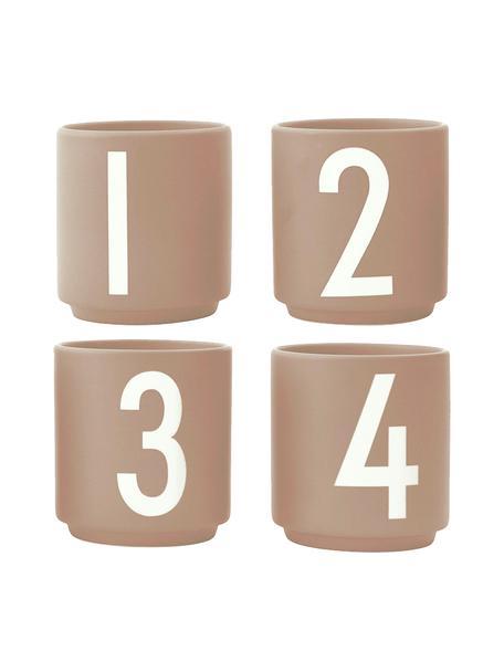 Set 4 tazze caffè di design con numeri 1234, Fine Bone China (porcellana) La Fine Bone China è una porcellana a pasta morbida particolarmente caratterizzata dalla sua lucentezza radiosa e traslucida, Beige, bianco, Ø 5 x Alt. 6 cm