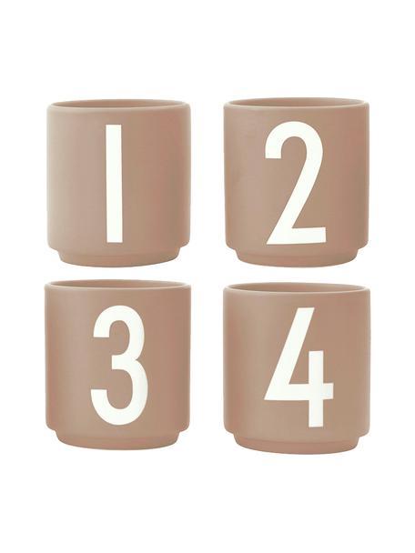 Design espressokopjesset 1234 met cijfers, 4-delig, Beenderporselein (porselein) Fine Bone China is een zacht porselein, dat zich vooral onderscheidt door zijn briljante, doorschijnende glans., Mat beige, wit, Ø 6 x H 6 cm
