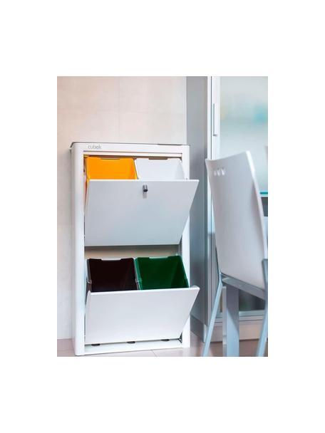 Cubo de basura para reciclar Cubek, Acero lacado, Blanco, An 57 x Al 99 cm
