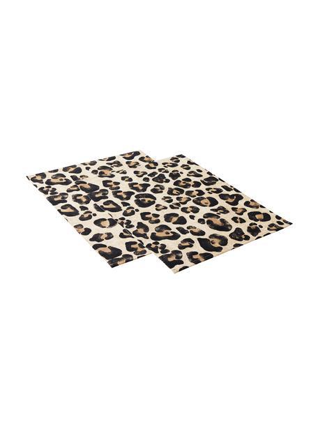 Katoenen placemats Jill met luipaarden print, 2 stuks, Katoen, Beige, zwart, 35 x 45 cm