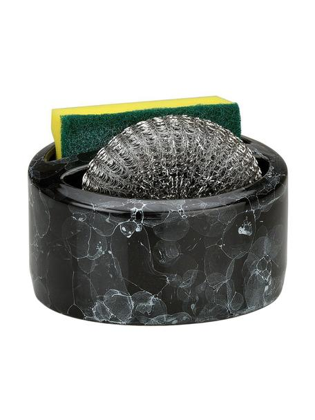 Sponshouder Bubble in marmerlook, 3-delig, Keramiek, Gemarmerd zwart, Ø 14 x H 11 cm