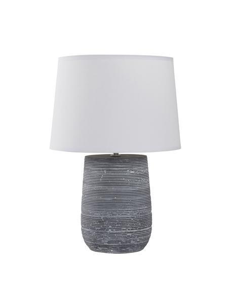 Lampada da tavolo con base in cemento Clemente, Paralume: cotone, Base della lampada: cemento, Struttura: metallo, Bianco, grigio, Ø 29 x Alt. 42 cm