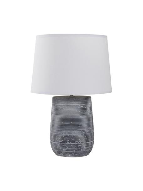 Tafellamp Clemente met betonnen voet, Lampenkap: katoen, Lampvoet: beton, Wit, grijs, Ø 29 x H 42 cm