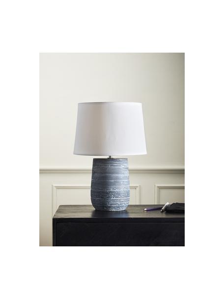 Moderne Tischlampe Clemente mit Betonfuß, Lampenschirm: Baumwolle, Lampenfuß: Beton, Weiß, Grau, Ø 29 x H 42 cm