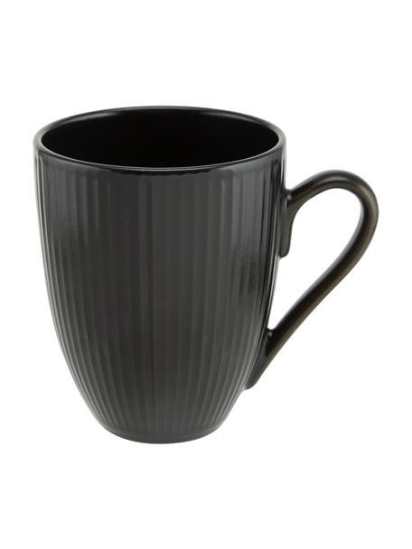 Schwarze Kaffeetassen Groove mit Rillenstruktur, 4 Stück, Steingut, Schwarz, Ø 9 x H 11 cm