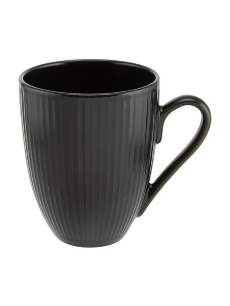 Tazas de café Groove, 4uds., Gres, Negro, Ø 9 x Al 11 cm