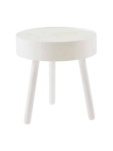 Houten tafel Monroy met geïntegreerde LED-verlichting, Frame: hout, Tafelblad: acrylglas, Wit, Ø 40 x H 42 cm