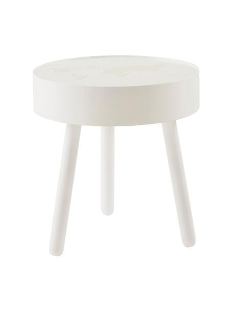 Stolik z drewna ze zintegrowaną lampą LED Monroy, Stelaż: drewno, Blat: szkło akrylowe, Biały, Ø 40 x W 42 cm