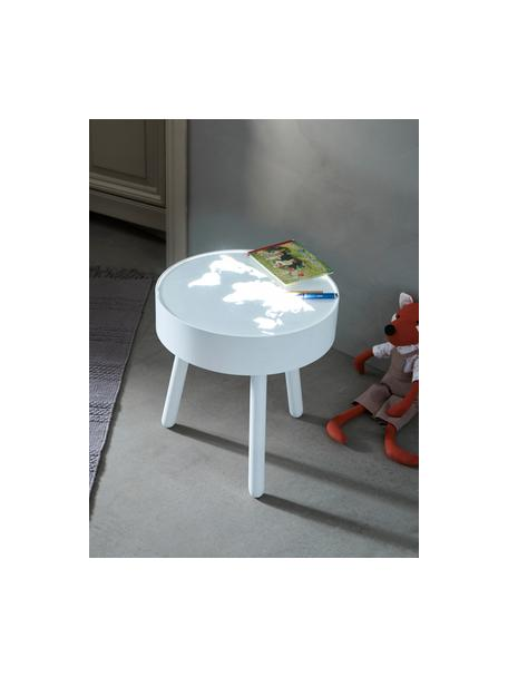 Lámpara de pie LED de madera Monroy, Estructura: madera, Tablero: vidrio acrílico, Blanco, Ø 40 x Al 42 cm