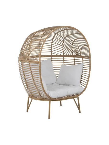 Mand fauteuil Oval van rotan, Bruin, wit, 115 x 148 cm