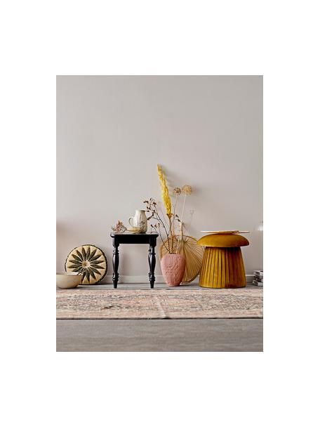Fluwelen poef Roberta, Bekleding: polyester fluweel, Frame: MDF, Bruin, Ø 44 x H 45 cm