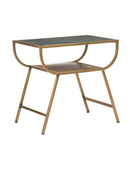 Stolik pomocniczy z marmuru Ricky, Blat: marmur, Stelaż: metal malowany proszkowo, Zielony, odcienie złotego, S 40 x G 60 cm