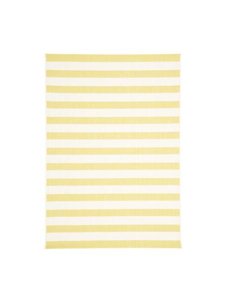 Gestreept in- & outdoor vloerkleed Axa in geel/wit, Bovenzijde: 100% polypropyleen, Onderzijde: polyester, Crèmewit, geel, B 160 x L 230 cm (maat M)