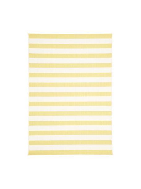 Tappeto a righe color giallo/bianco da interno-esterno Axa, 86% polipropilene, 14% poliestere, Bianco crema, giallo, Larg. 160 x Lung. 230 cm  (taglia M)