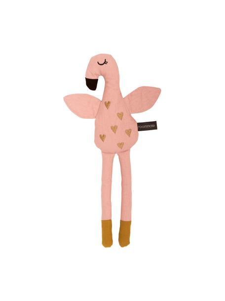Przytulanka z bawełny organicznej Flamingo, Blady różowy, odcienie złotego, S 15 x W 36 cm