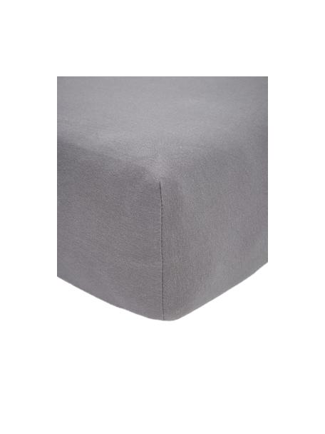 Lenzuolo con angoli in jersey-elastan grigio scuro Lara, 95% cotone, 5% elastan, Grigio scuro, Larg. 90-100 x Lung. 200 cm