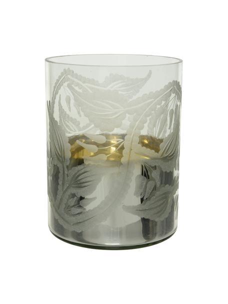 Windlicht Jagna, Glas, Transparant, zilverkleurig, Ø 13 x H 17 cm