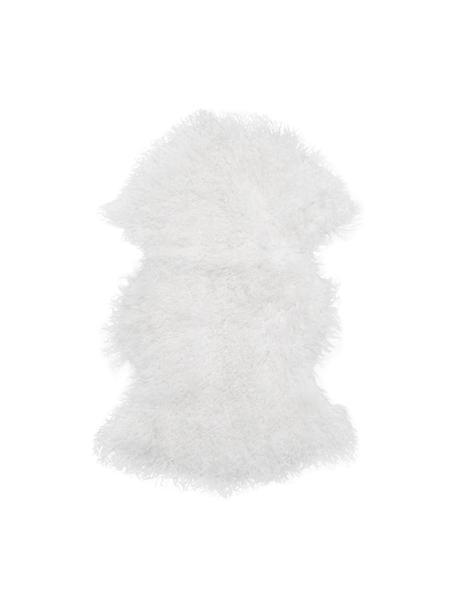 Langhaar-Lammfell Ella, gelockt, Vorderseite: 100% mongolisches Lammfel, Rückseite: 100% Leder, Weiss, 50 x 80 cm