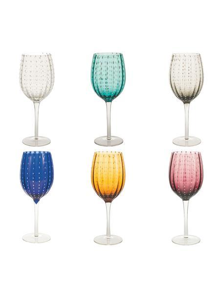 Copas de vino de colores Shiraz, 6uds., Vidrio, Multicolor, Ø 7 x Al 23 cm