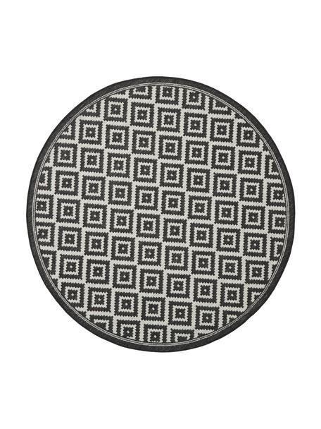 Rond in- en outdoor vloerkleed met patroon Miami in zwart/wit, 86% polypropyleen, 14% polyester, Wit, zwart, Ø 140 cm (maat M)