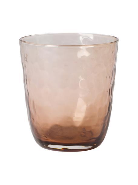 Vasos de vidrio soplado artesanalmente Hammered, 4uds., Vidrio, Marrón, Ø 9 x Al 10 cm