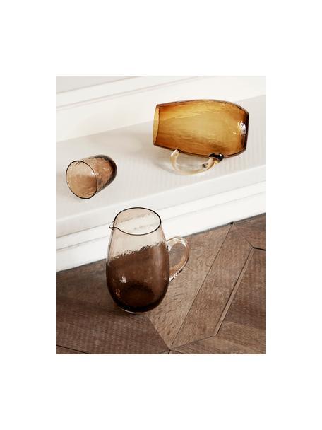 Mondgeblazen waterglazen Hammered met oneven oppervlak, 4 stuks, Glas, Bruin, Ø 9 x H 10 cm
