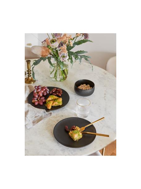 Dinerbord Neri met groefstructuur in mat zwart, Keramiek Met groefstructuur en licht ruw oppervlak., Zwart, Ø 29 cm