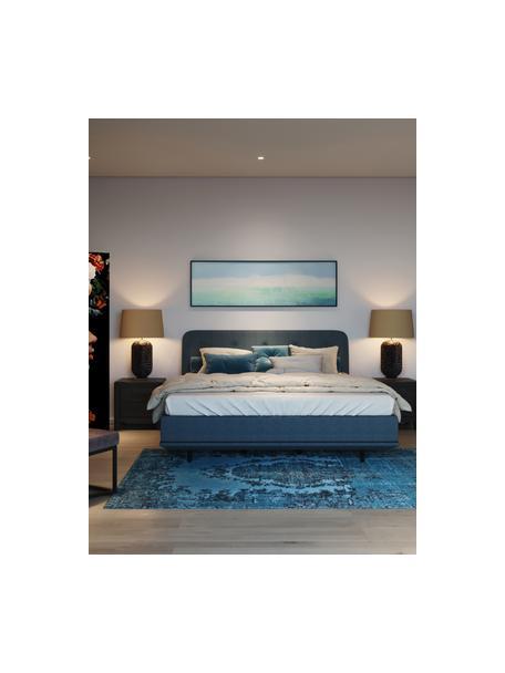 Cama tapizada Luna, Estructura: madera de haya maciza pin, Tapizado: 100%poliéster, Patas: madera de haya maciza pin, Tejido azul, 180 x 200 cm