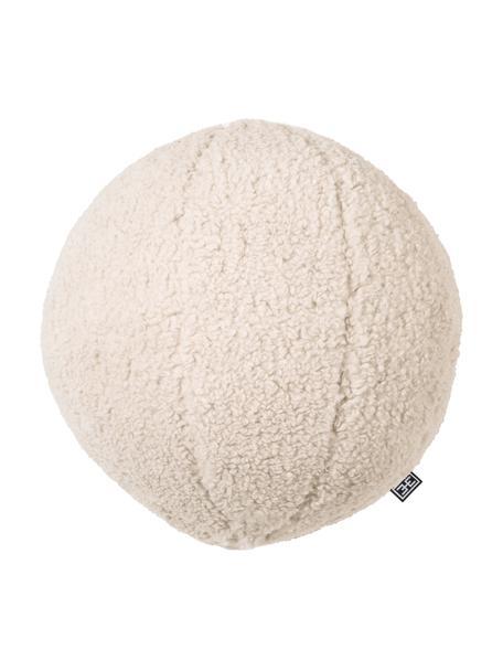 Ręcznie wykonana poduszka teddy z wypełnieniem Palla, Tapicerka: 100% poliester, Odcienie kremowego, Ø 30 cm