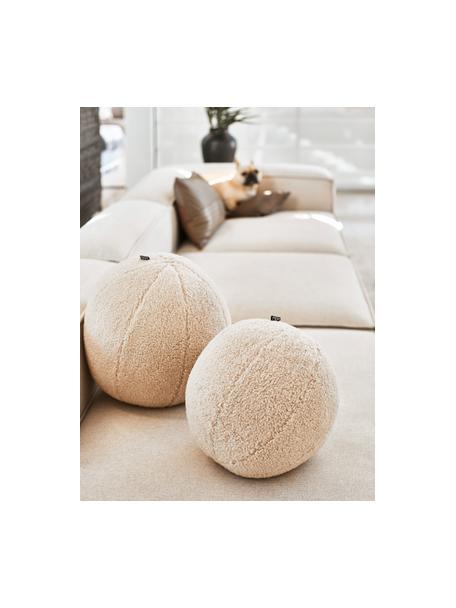 Cojín esférico artesanal en tejido bouclé Palla, con relleno, Tapizado: 100%poliéster, tejido bo, Crema, Ø 30 cm