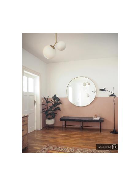 Fluwelen bank Comma, Bekleding: polyesterfluweel, Frame: gepoedercoat staal, Bekleding: grijs. Frame: zwart, B 160 x D 50 cm