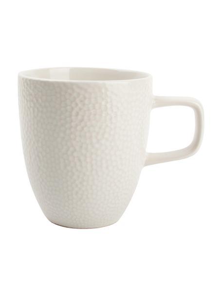 Tassen Mielo mit strukturierter Oberfläche, 4 Stück, Steingut, Weiß, 9 x 10 cm