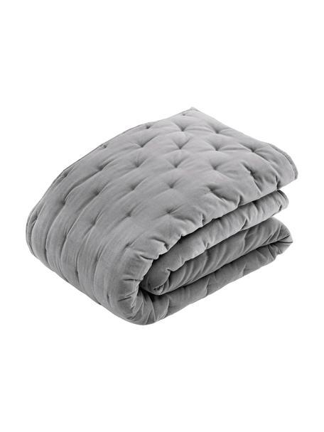 Copriletto imbottito in velluto grigio Cheryl, Retro: cotone, Grigio, Larg. 160 x Lung. 220 cm  (per letti fino a 140 x 200)
