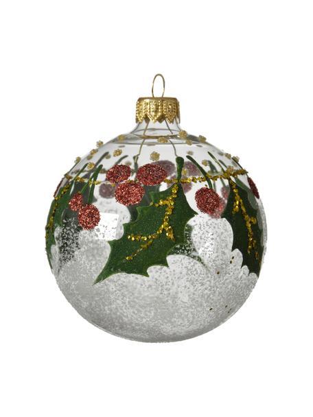 Weihnachtskugeln Misto Ø 8 cm, 2 Stück, Transparent, Grün, Rot, Goldfarben, Ø 8 cm