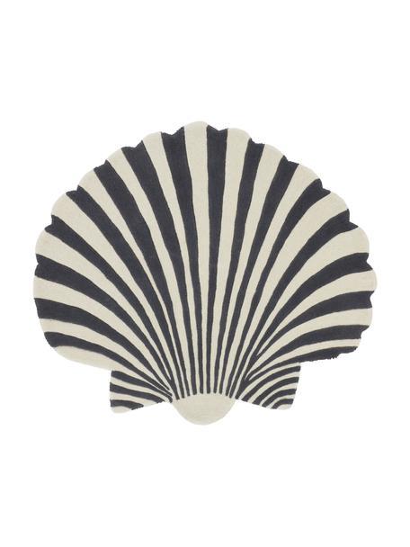 Handgetuft wollen vloerkleed Shellie in schelp-vorm, 100% wol, Blauwtinten, wit, B 105 x L 120 cm (maat S)