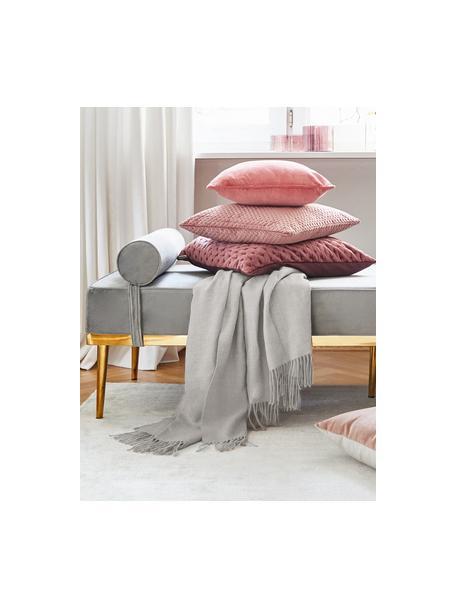 Koc z bawełny z frędzlami Madison, 100% bawełna, Jasny szary, S 140 x D 170 cm
