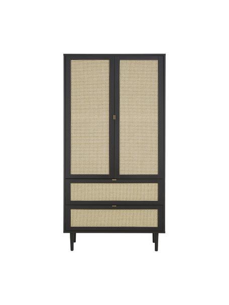 Armario Aries, Estructura: aglomerado con chapa de m, Patas: madera de roble maciza, Negro, An 100 x Al 194 cm