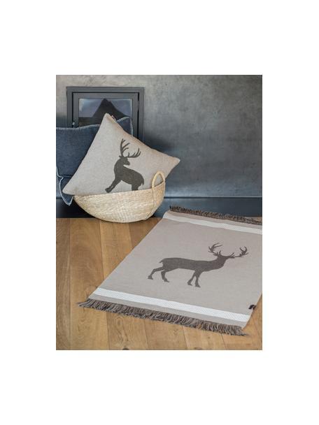 Tappeto con frange Hirsch Goliath, 100% cotone riciclato, Grigio, grigio scuro, beige, Larg. 70 x Lung. 120 cm (taglia XS)