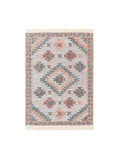 Handgewebter Kelimteppich Cari mit Muster und Fransen, 70% Wolle, 30% Polyester, Mehrfarbig, B 80 x L 150 cm (Größe XS)