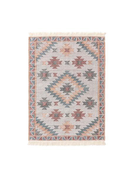 Tappeto Kilim tessuto a mano con motivo e frange Cari, 70% lana, 30% poliestere, Multicolore, Larg. 80 x Lung. 150 cm (taglia XS)