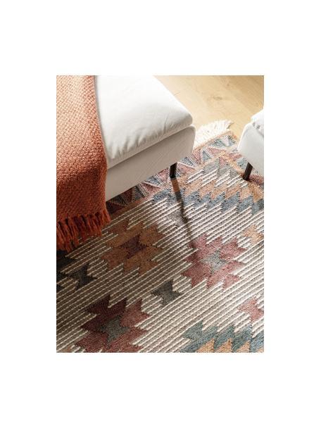 Handgeweven Kelim vloerkleed Cari met patroon en franjes, 70% wol, 30% polyester, Multicolour, B 80 x L 150 cm (maat XS)