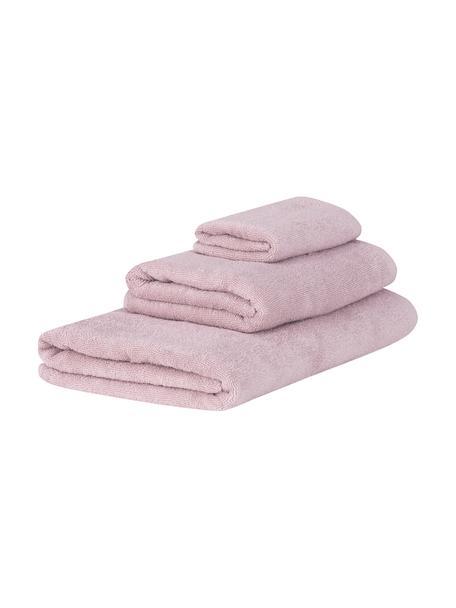 Komplet ręczników Comfort, 3 elem., Brudny różowy, Komplet z różnymi rozmiarami