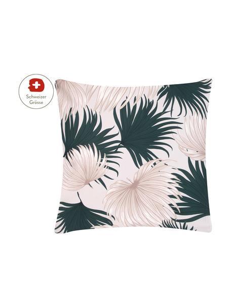 Baumwollsatin-Kissenbezug Aloha mit Palmenblättern, 65 x 65 cm, Webart: Satin Fadendichte 210 TC,, Vorderseite: Beige, Grün Rückseite: Beige, 65 x 65 cm